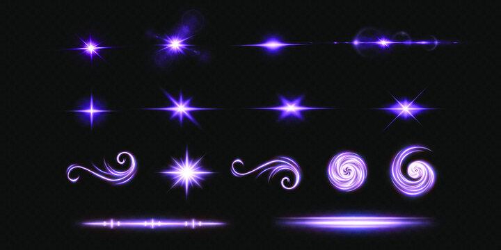 Shining neon stars isolated on black background. Effects, lens flare, shine, explosion, neon light, set. Shining stars, beautiful blue rays. Vector illustration.