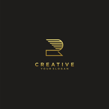 letter r logo collection with modern concept gold colour for finance  company Premium Vector. part 3
