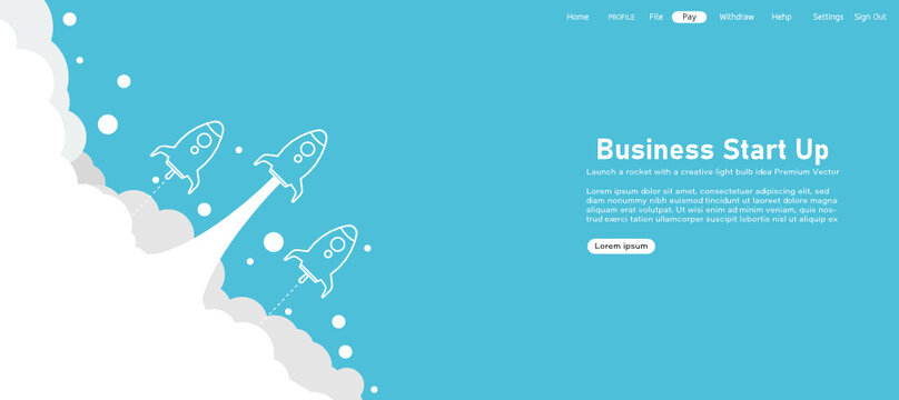 Startup background rocket ship launch concept product Rocket in the sky Among the aries In a blue background