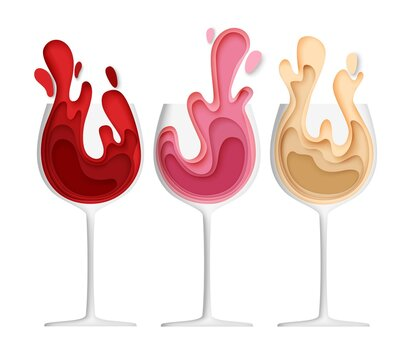 Wineglass with wine splash, vector illustration in paper art style. Red, pink, white wine in glasses for restaurant menu, wine bar logo, card, poster, banner, flyer, label.