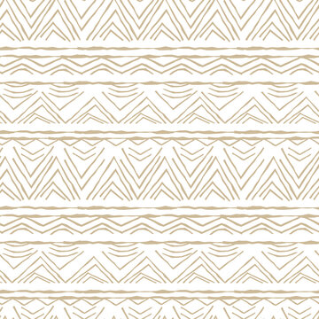 White and Beige horizontal Seamless repeat pattern. Random rough, twisted part of triangles or broken lines, part of circles shapes. Hand drawn effect