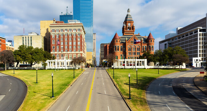 Dealey Plaza, city park and National Historic Landmark in downtown Dallas, Texas. Site of President John Fitzgerald Kennedy assassination in 1963.