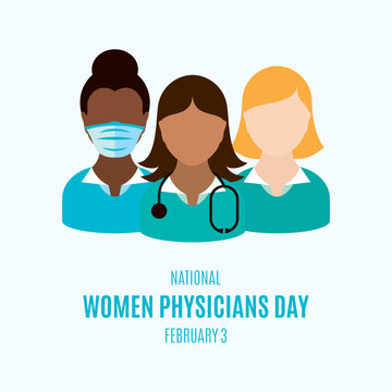 National Women Physicians Day vector. Female doctor with stethoscope icon vector. Group women doctors avatar vector illustration. Women Physicians Day Poster, February 3. Important day