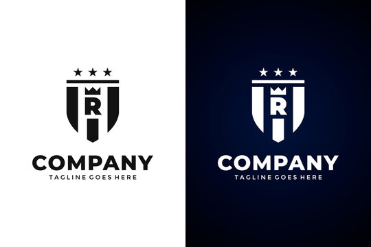Modern Shield and letter R logo template.Vector shield emblem design. Shield logo design.