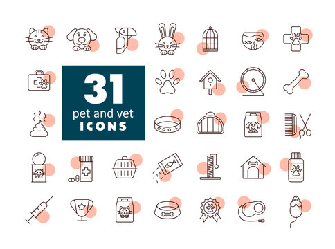 Pet and vet vector icon set
