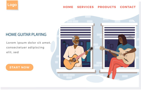 Fashionable elderly man sings with woman in duet. People on balcony are playing guitar together. Guitarists at home are enjoying time with musical instrument. Website about home guitar playing