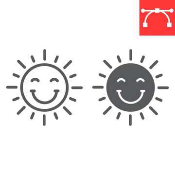 Smiling sun line and glyph icon, Happy Easter and holiday, sun smile vector icon, vector graphics, editable stroke outline sign, eps 10.
