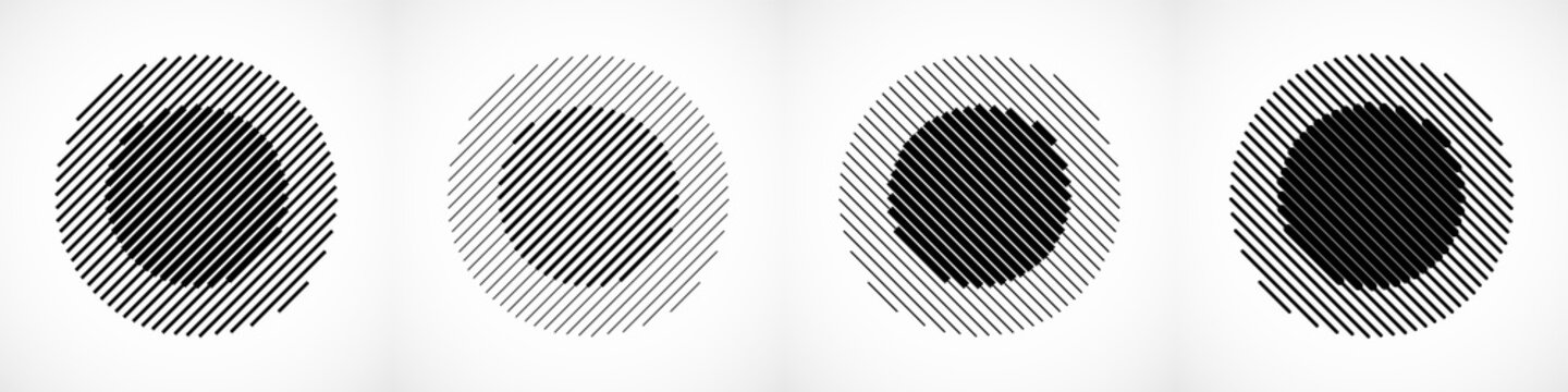 Set of abstract geometric logo with lines. Halftone circles for your design