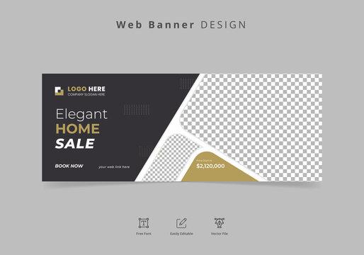 Real estate or home sale web banner post design