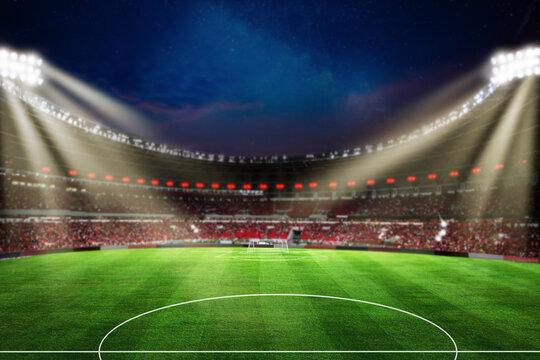 Lights at night and football stadium Blur 3d rendering