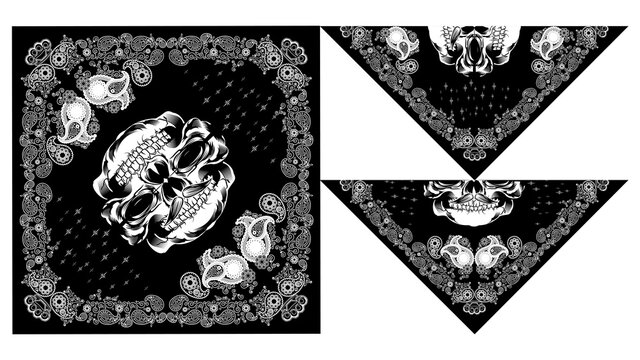 bandanas or bandana skull design paisley vector