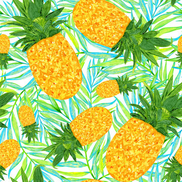 Pineapple and palm leaves seamless pattern. Summer tropical  fruit print. Watercolor exotic Hawaiian background.