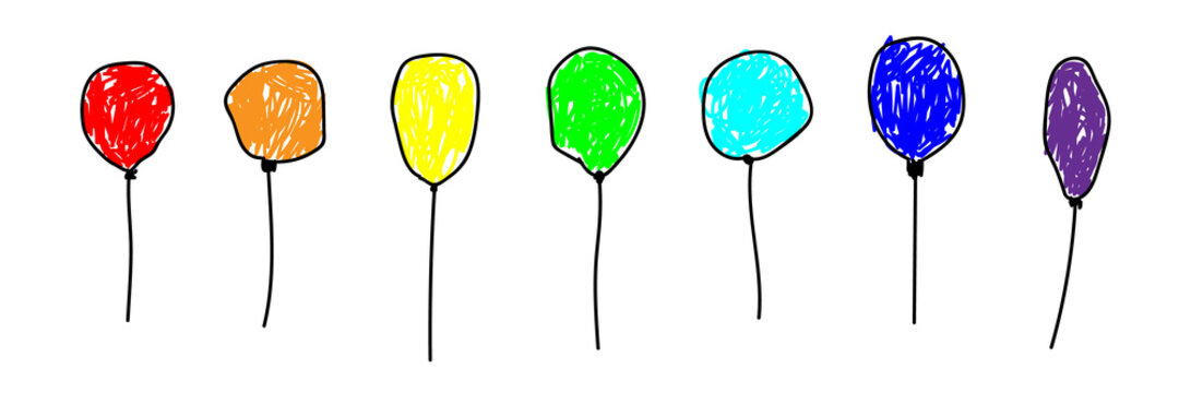 Set of colorful balloons inflatable in a deliberately childish style. Imitation child drawing. Kid sketch, painting felt-tip pen or marker. Kid painted handmade by birthday. Vector illustration