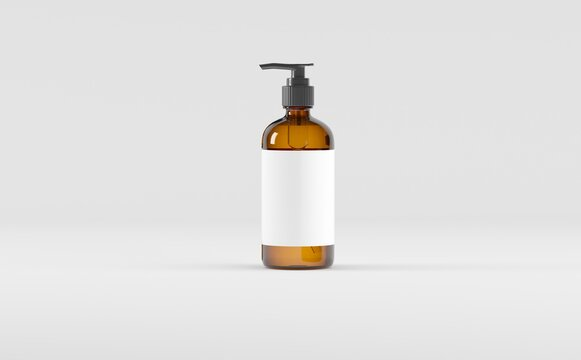 Amber Glass Bottle- Cosmetic - Soap Dispenser- Pump - Mockup 3D illustration