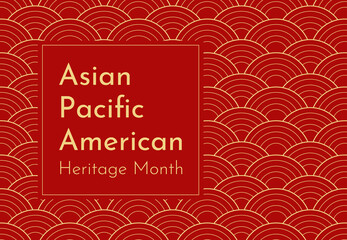 Obraz Vector design with red Japanese wavy background. Text - Asian Pacific American Heritage Month. Poster for recognizing of culture and achievements by these ethnic groups in US history. Gold frame - fototapety do salonu