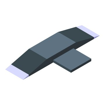 Skateboard ramp icon. Isometric of skateboard ramp vector icon for web design isolated on white background