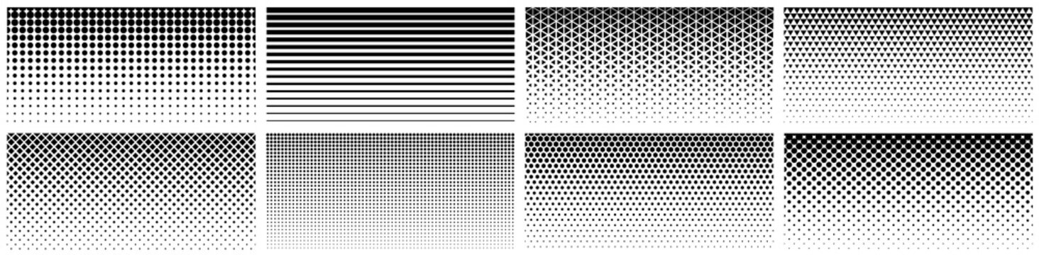 Seamless halftone gradient. Black screentone graphics. Abstract geometric black and white graphic design print pattern.