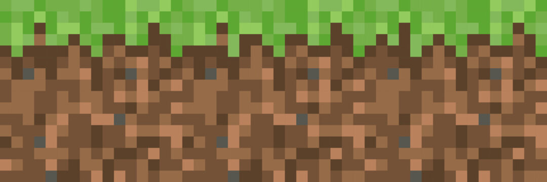 Pixel minecraft style land background. Concept of game ground pixelated horizontal seamless background. Vector illustration