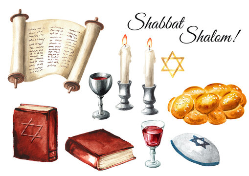 Shabbat Shalom set, Traditional jewish celebration oh the Shabbat, challah, candles, Torah book and wine. Hand drawn watercolor illustration isolated on white background