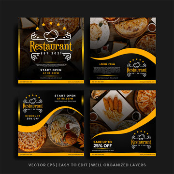 Food menu restaurant social media post template bundle