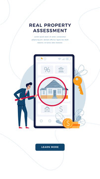 Real property assessment banner. Real estate appraiser is doing property inspection of a house. Real estate valuation online, home appraisal service concept for web design. Flat vector illustration