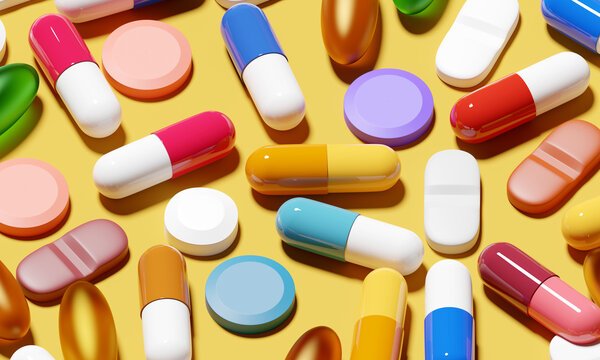 A background of medical pills and antibiotics for a variety of medical conditions. 3D illustration
