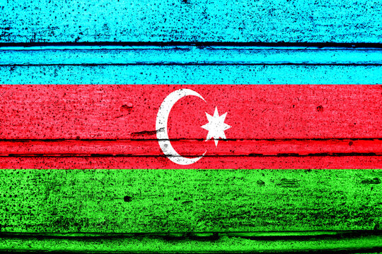 National flag of Azerbaijan, abbreviated with az; a realistic 3d image of the national symbol from an independent country painted on a wooden wall