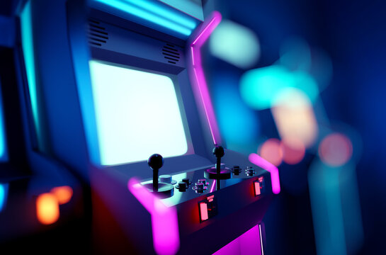 Retro neon glowing arcade machines in a games room. 3D render illustration.