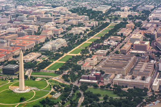 Aerial view of The National Mall in Washingtion D.C. USA. From the Washington Monument to the Capital Building.