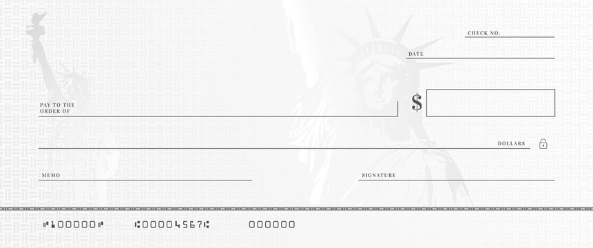 Blank money check template. Fake stimulus cheque mockup. Bank checkbook background.