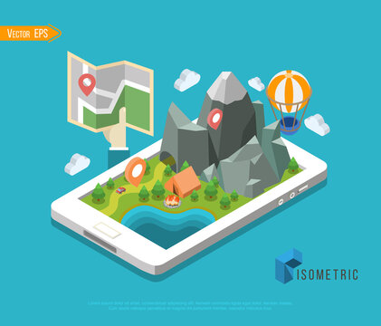 Flat map mobile GPS navigation infographic 3d isometric concept. Tablet, phone, digital map paper route pin markers.