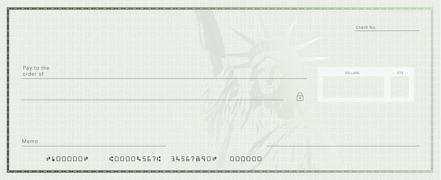 Blank stimulus bank check template. Fake checkbook mockup.