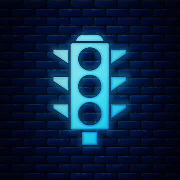 Glowing neon Traffic light icon isolated on brick wall background. Vector.