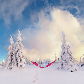 Winter outdoor camping