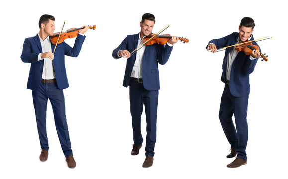 Collage with photos of happy man playing violin on white background