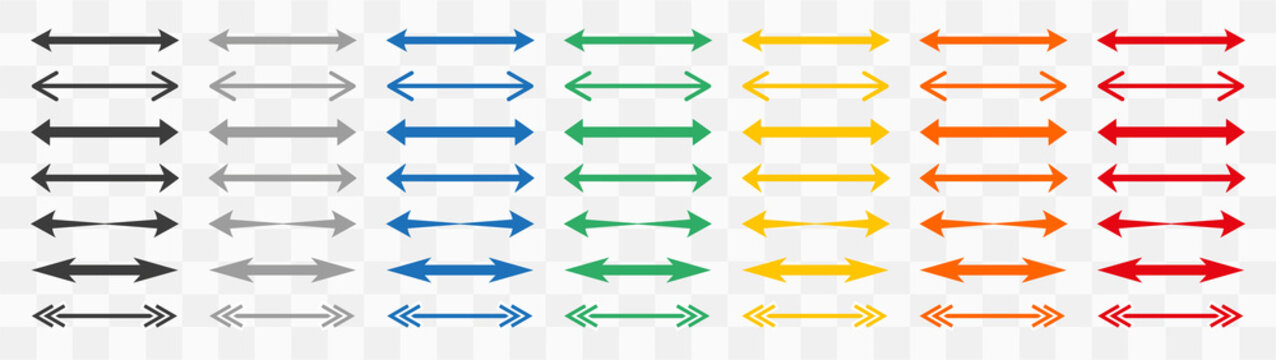 Set of colour double arrows. Double arrow icon, two side symbol, double arrow logo concept.