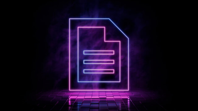 Pink and blue neon light document icon. Vibrant colored word document technology symbol, isolated on a black background. 3D Render