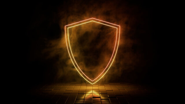 Orange and yellow neon light shield icon. Vibrant colored technology symbol, isolated on a black background. 3D Render