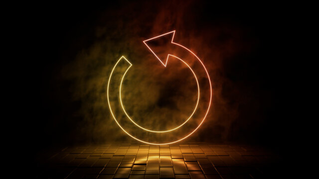 Orange and yellow neon light refresh icon. Vibrant colored technology symbol, isolated on a black background. 3D Render