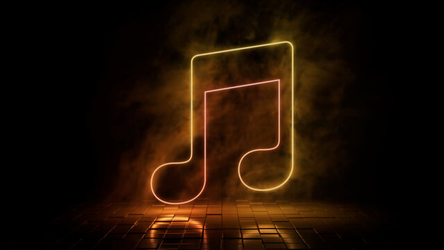 Orange and yellow neon light music icon. Vibrant colored technology symbol, isolated on a black background. 3D Render