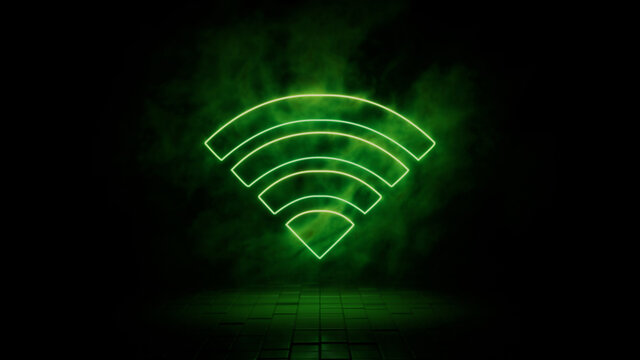 Green neon light wifi icon. Vibrant colored technology symbol, isolated on a black background. 3D Render