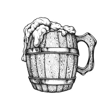 St. Patrick's Day Irish Wooden Beer Mug. Hand Drawn Vector Illustration