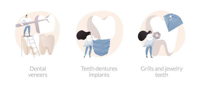 Teeth aesthetics abstract concept vector illustration set. Dental veneers, teeth dentures implant, grills jewelry, celebrity smile, whitening, cosmetic dentistry, orthodontic clinic abstract metaphor.