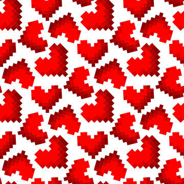 Beautiful red pixel hearts isolated on white background. Cute seamless pattern. Vector flat graphic illustration. Texture.