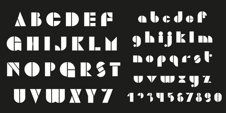 Bauhaus letters and numbers set. Modern typography. Font for events, promotions, logos, banner, monogram and poster.