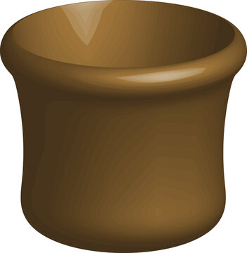 Tableware 3d volume drawn illustration, brown earthenware jug. Modern design of a plate, Wooden vessel for liquid.