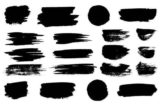black paint brush spots, highlighter lines or felt-tip pen marker horizontal blobs. Marker pen or brushstrokes and dashes. Ink smudge abstract shape stains and smear set with texture