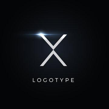 Futurism style letter X. Minimalist type for modern futuristic logo, elegant cyber tech monogram, digital device and hud graphic. Minimal style symbol, vector design
