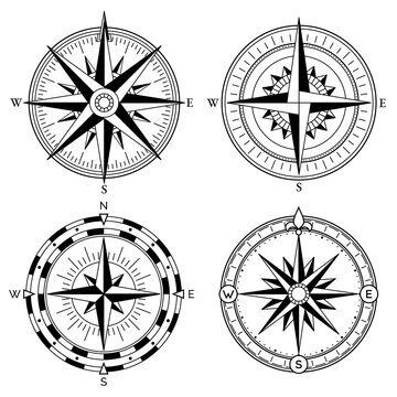 Wind rose retro design collection. Vintage nautical or marine wind rose and compass icons set, for travel, navigation design