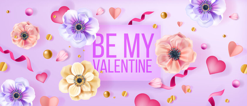 Be my Valentine love vector background, greeting card with anemone flowers, confetti, hearts, pearls. Romantic holiday spring floral top view banner with petals,ribbon.Happy Valentine's Day background